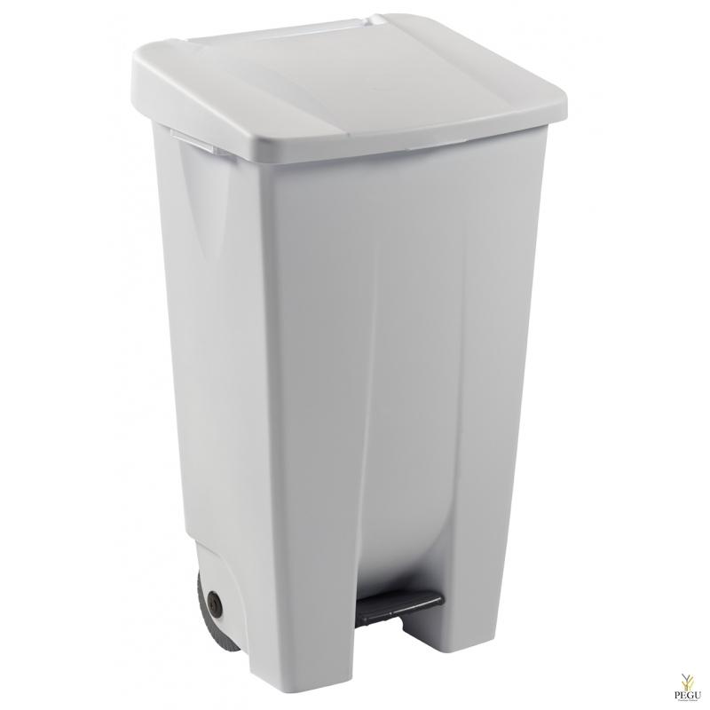 Prügikast pedaaliga ja kaanega MOBILY 120L plastik valge/valge