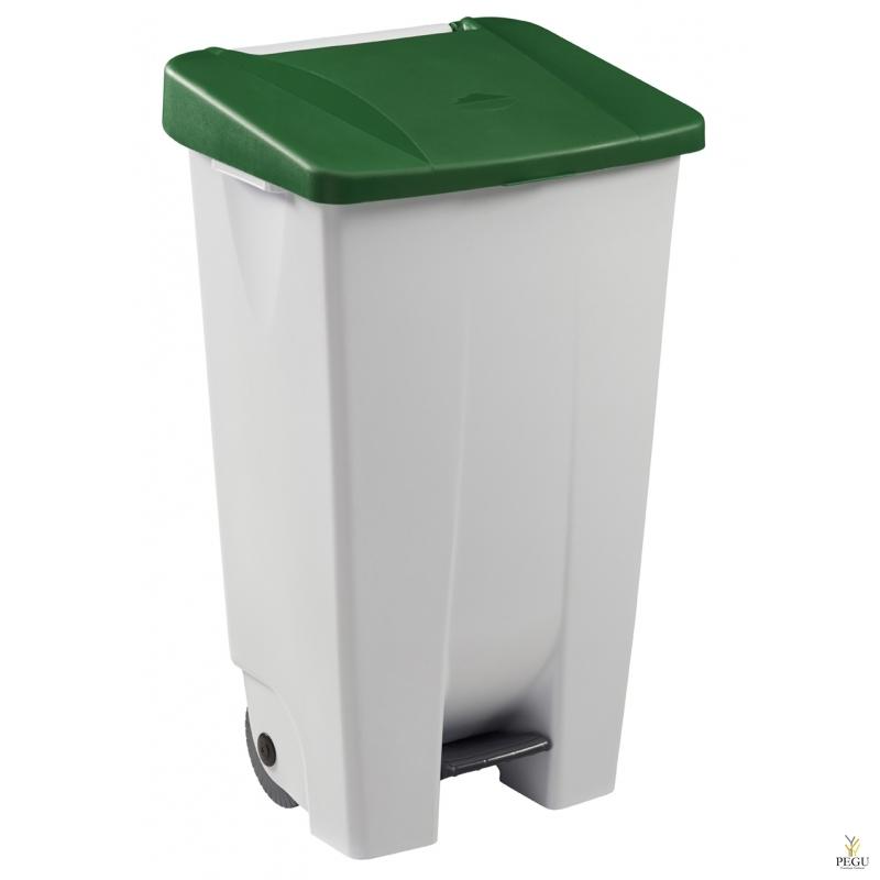 Prügikast pedaaliga ja kaanega MOBILY 120L plastik valge/roheline