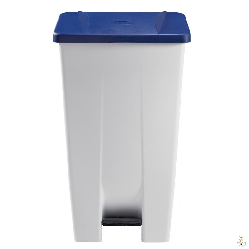 Мусорный контейнер с педалью и крышкой MOBILY 120L пластик белый/синий