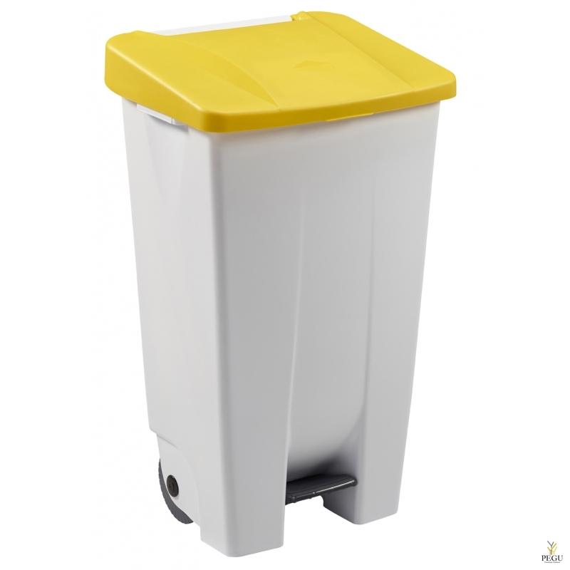 Мусорный контейнер с педалью и крышкой MOBILY 120L пластик белый/жёлтый