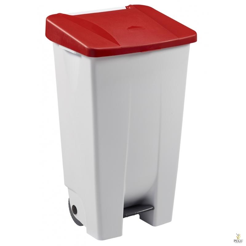 Мусорный контейнер с педалью и крышкой MOBILY 120L пластик белый/красный