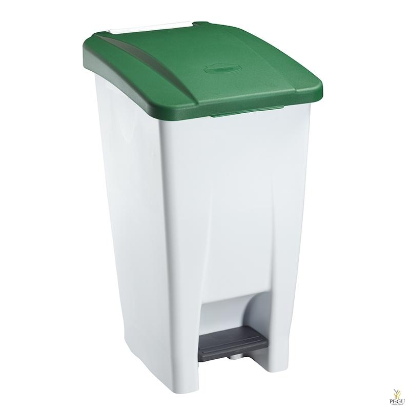 Prügikast pedaaliga ja kaanega MOBILY 60L plastik valge/roheline
