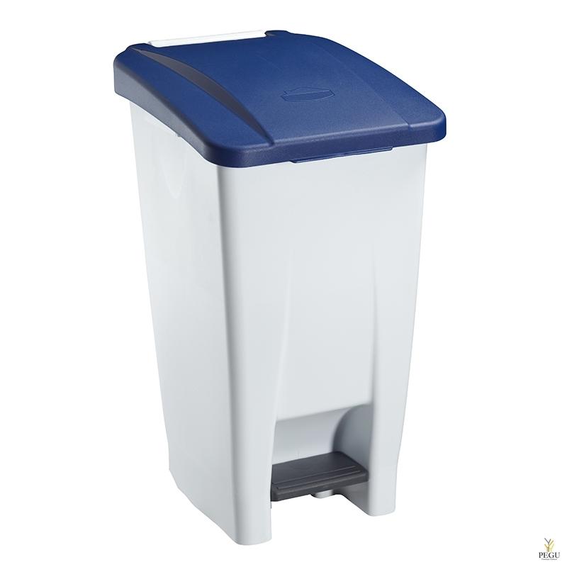 Prügikast pedaaliga ja kaanega MOBILY 60L plastik valge/sinine