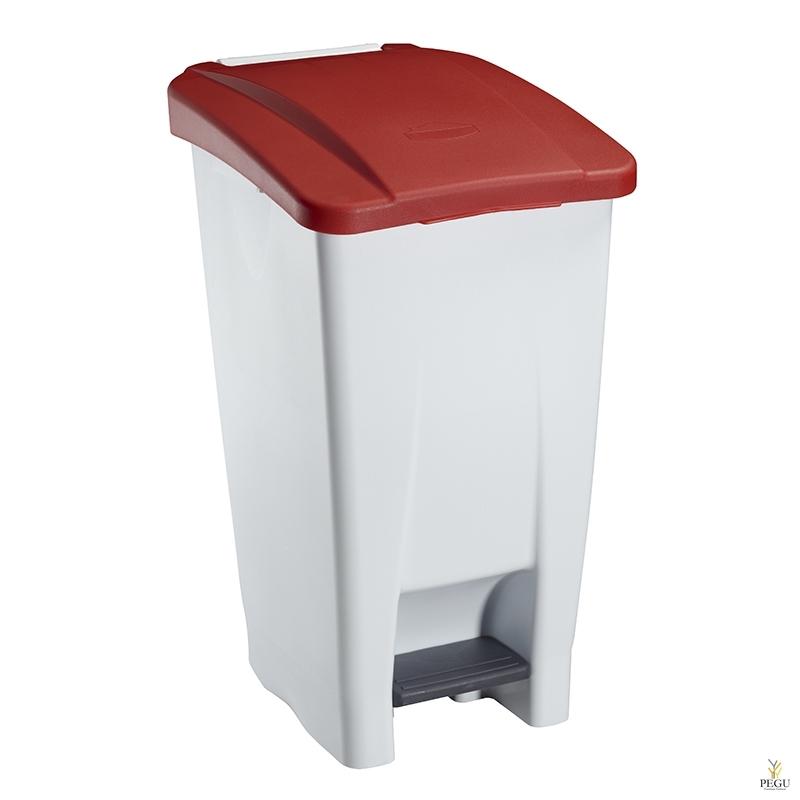 Prügikast pedaaliga ja kaanega MOBILY 60L plastik valge/punane