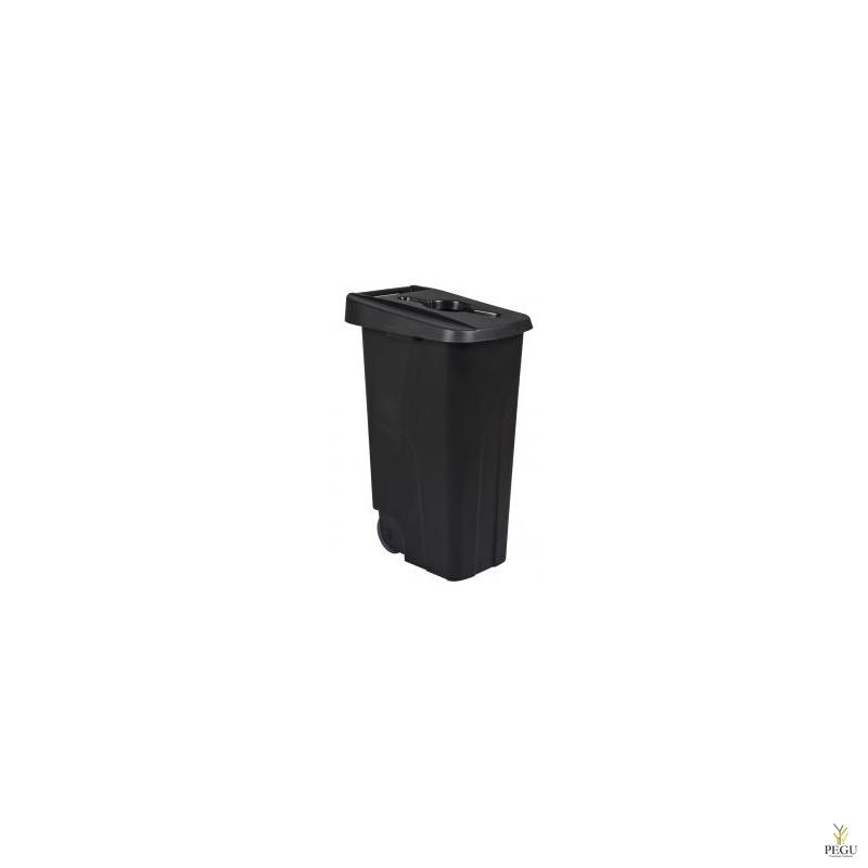 Мусорный бак для сортировки 110L, чёрный/чёрный, полипропилен