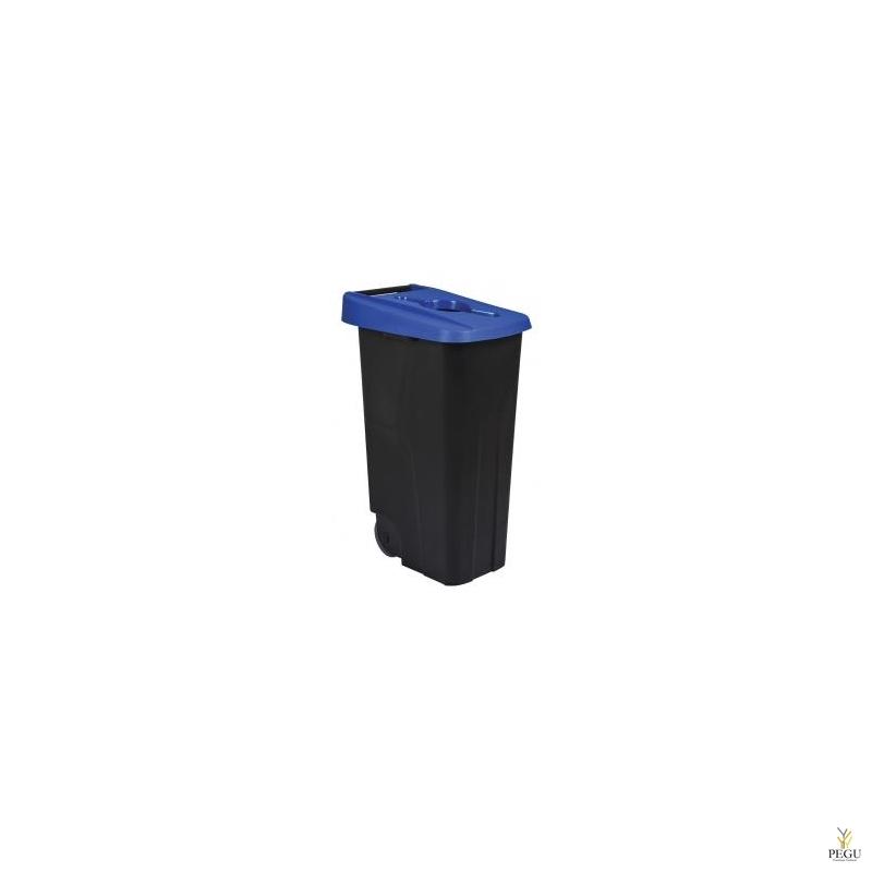 Sorteerimise prügikast 110L, sinine/must polüpropileen