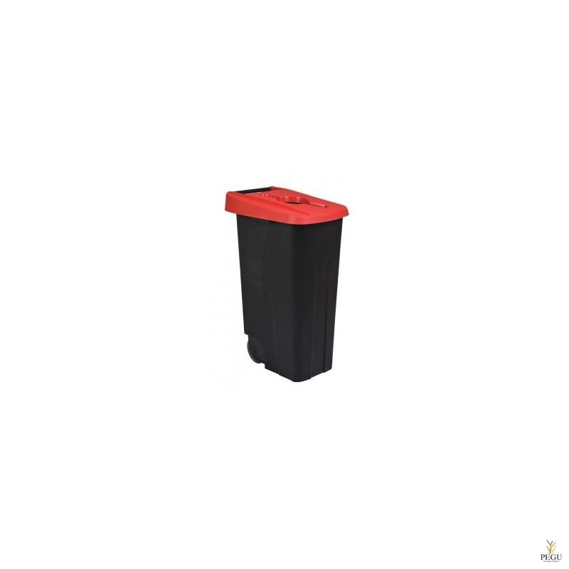 Мусорный бак для сортировки 110L, красный/чёрный, полипропилен