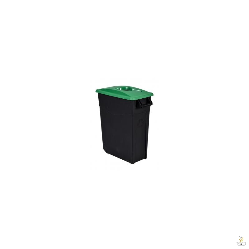 Мусорный бак для сортировки 65L, зелёный/чёрный, полипропилен