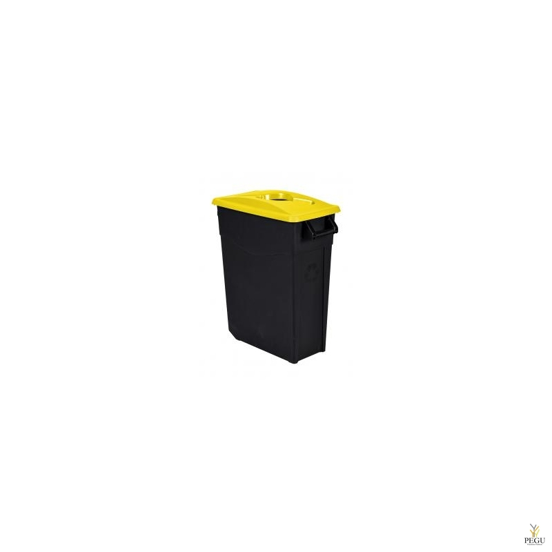 Мусорный бак для сортировки 65L, жёлтый/чёрный, полипропилен