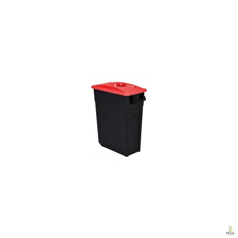 Мусорный бак для сортировки 65L, красный/чёрный, полипропилен