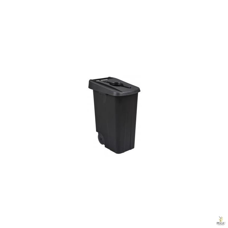 Мусорный бак для сортировки 85L, чёрный/чёрный, полипропилен
