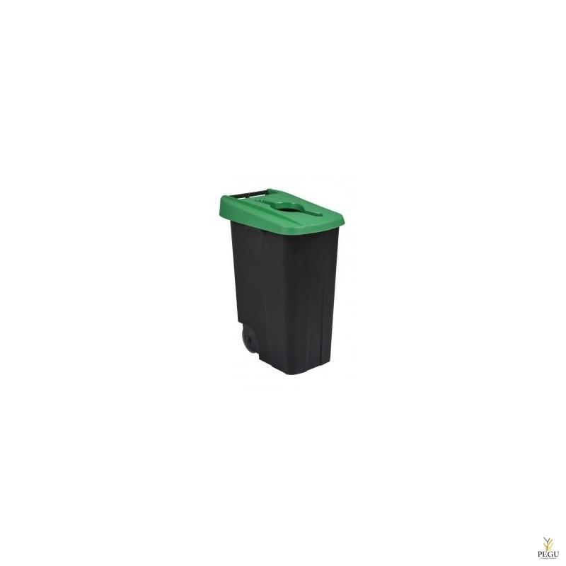 Sorteerimise prügikast 85L, roheline/must polüpropileen