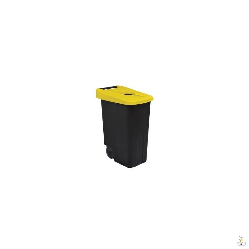 Sorteerimise prügikast 85L, kollane/must polüpropileen