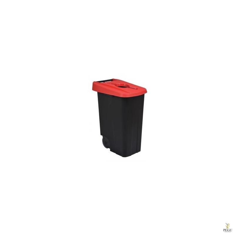 Мусорный бак для сортировки 85L, красный/чёрный, полипропилен
