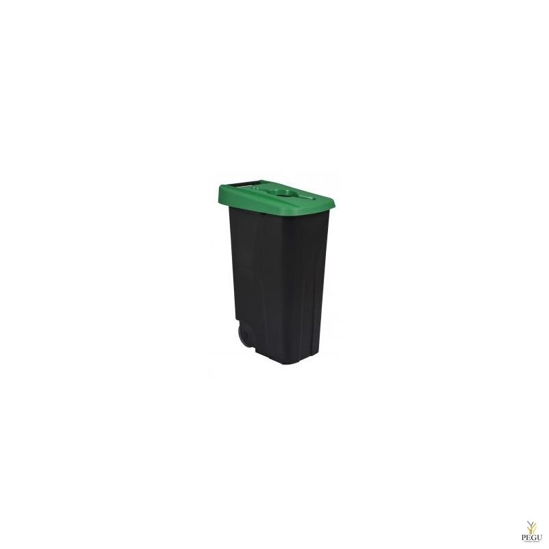 Мусорный бак для сортировки 110L, зелёный/чёрный, полипропилен
