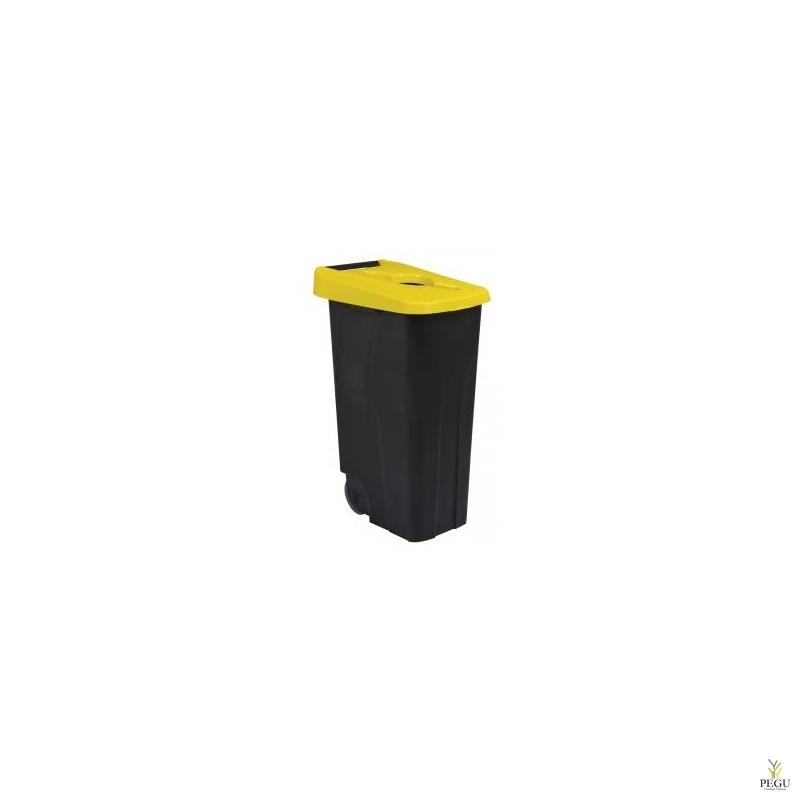 Sorteerimise prügikast 110L, kollane/must polüpropileen