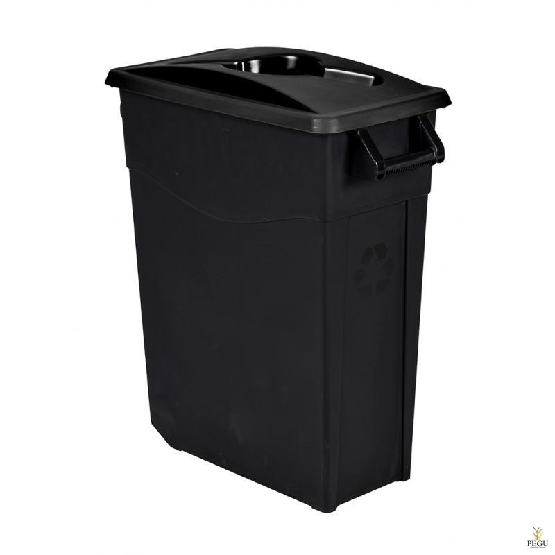 Мусорный бак для сортировки 65L, чёрный/чёрный, полипропилен