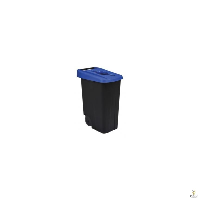 Мусорный бак для сортировки 85L, синий/чёрный, полипропилен