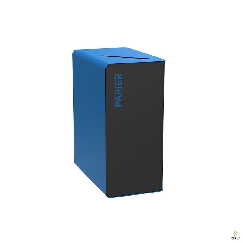 Мусорный бак для сортировки CUBATRI 65L, чёрный/синий RAL5015 бумага