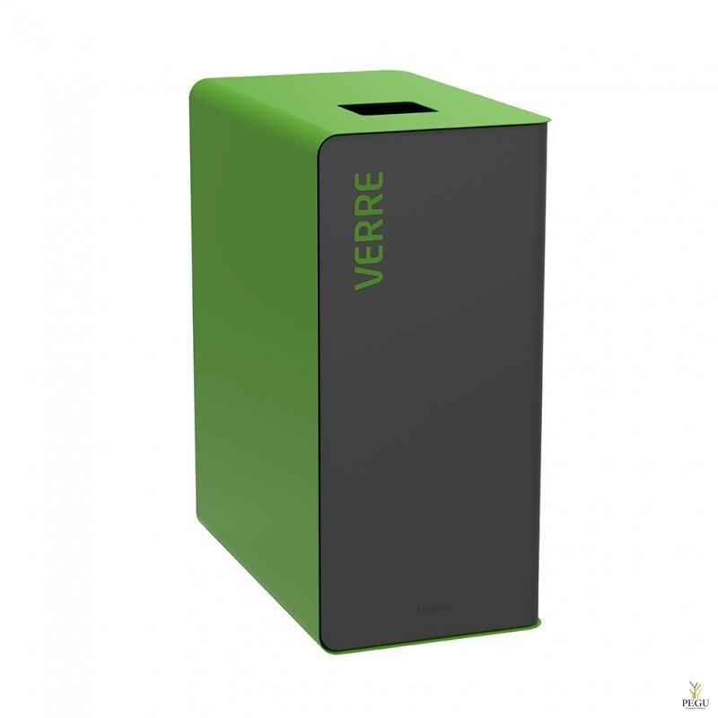 Sorteerimise prügikast CUBATRI 65L must/roheline RAL9022 klaas
