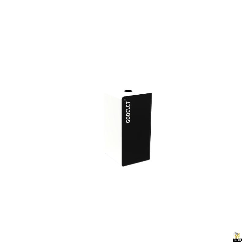 Сортировочный мусорный бак с замком CUBATRI 40L чёрный/белый RAL9016 стаканы