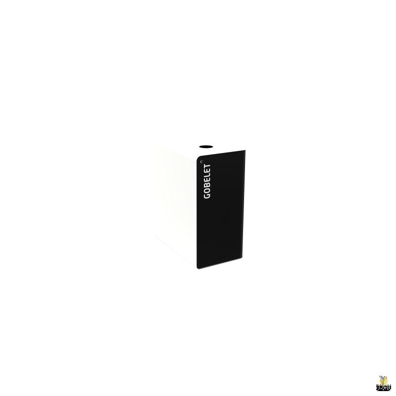 Сортировочный мусорный бак с замком CUBATRI 65L чёрный/белый RAL9016 стакан