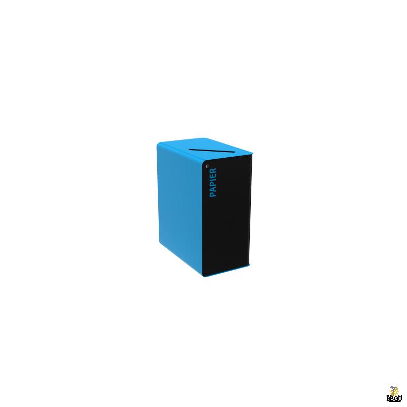 Сортировочный мусорный бак с замком CUBATRI 65L чёрный/синий RAL5015 бумага