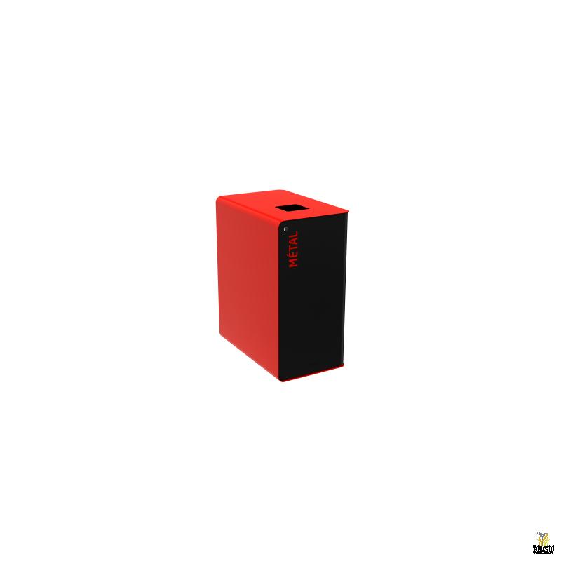 Сортировочный мусорный бак с замком CUBATRI 65L чёрный/красный RAL3020 металл