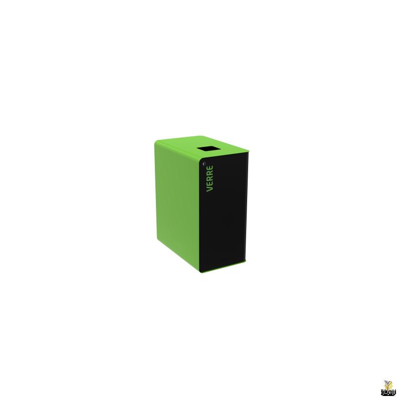 Сортировочный мусорный бак с замком CUBATRI 65L чёрный/зелёный RAL6018 стекло