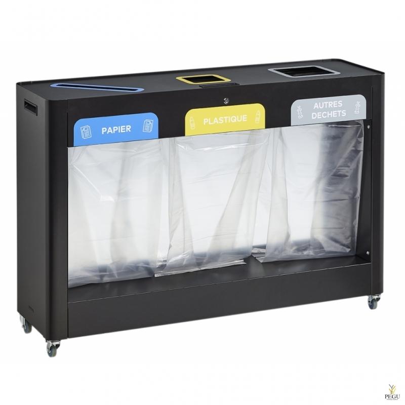 Станция для сортировки мусора TRIMOUV  3 x 110L бумага/пластик/прочие отходы