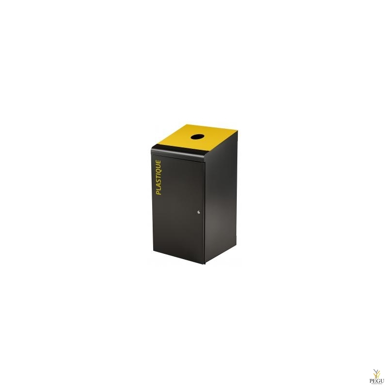 Sorteerimise prügikast lukuga TRIPOZ 120L must/kollane RAL1021 plastik