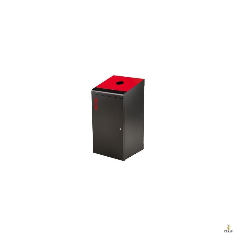 Sorteerimise prügikast lukuga TRIPOZ 120L must/punane RAL3020 metall