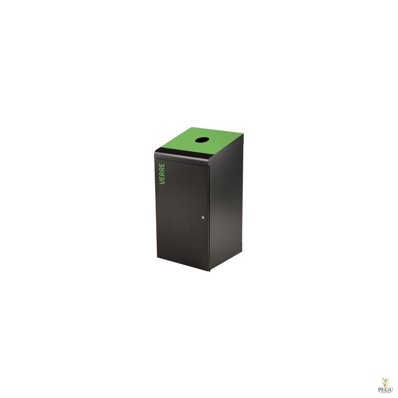 Sorteerimise prügikast lukuga TRIPOZ 120L must/roheline RAL6018 klaas