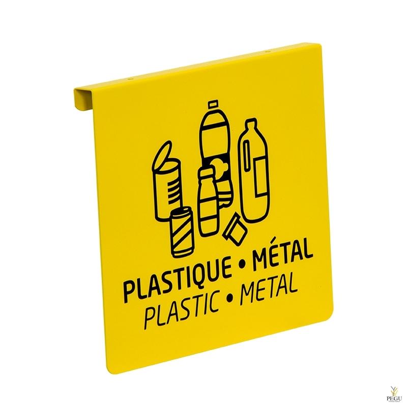 Signaalitahvel TUBAG prügikotiraamile sorteerimiseks kollane RAL1021 plastik+metall