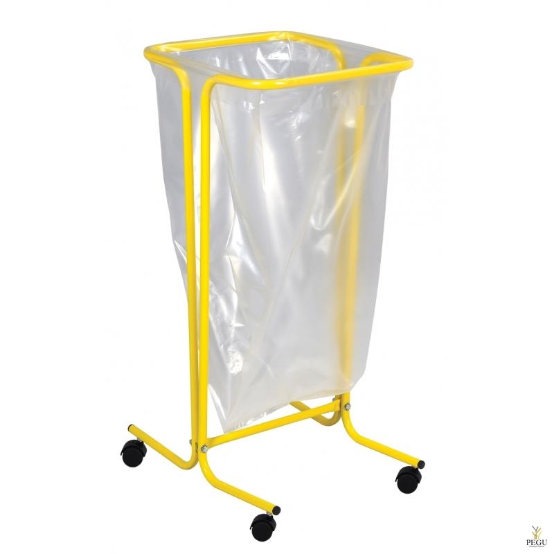 Рама для мусорных пакетов на  колёсах TUBAG 110L сталь окрашенная RAL1021 жёлтый