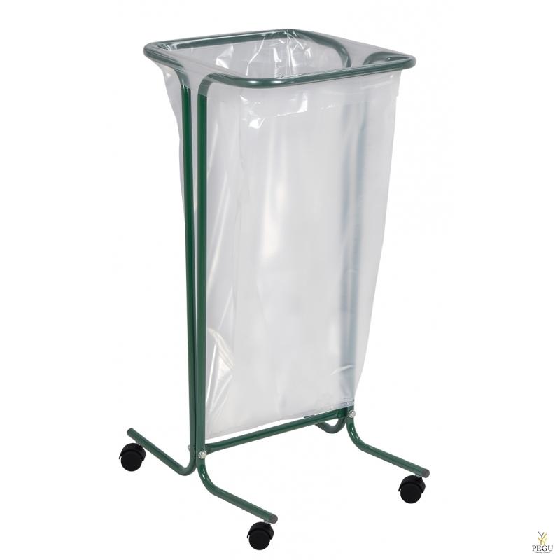 Рама для мусорных пакетов на  колёсах TUBAG 110L сталь окрашенная RAL6005 зелёный