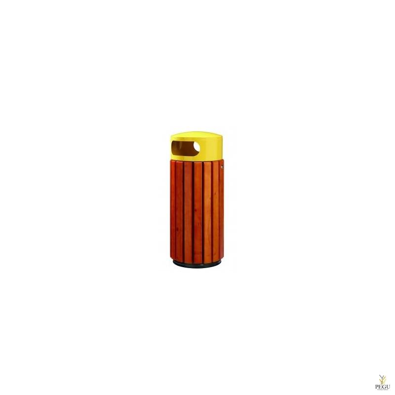 Уличная урна Rossignol  ZENO 60L коричневое дерево/металл жёлтый RAL1021