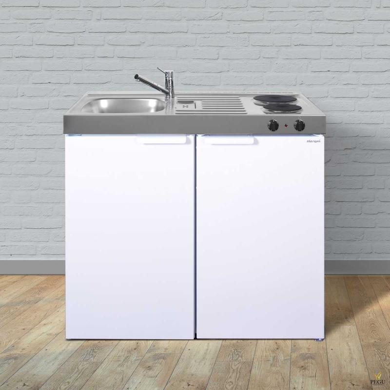 Миникухня металлическая Stengel MK100,  холодильник, 2-ая электроплита, белая, раковина слева