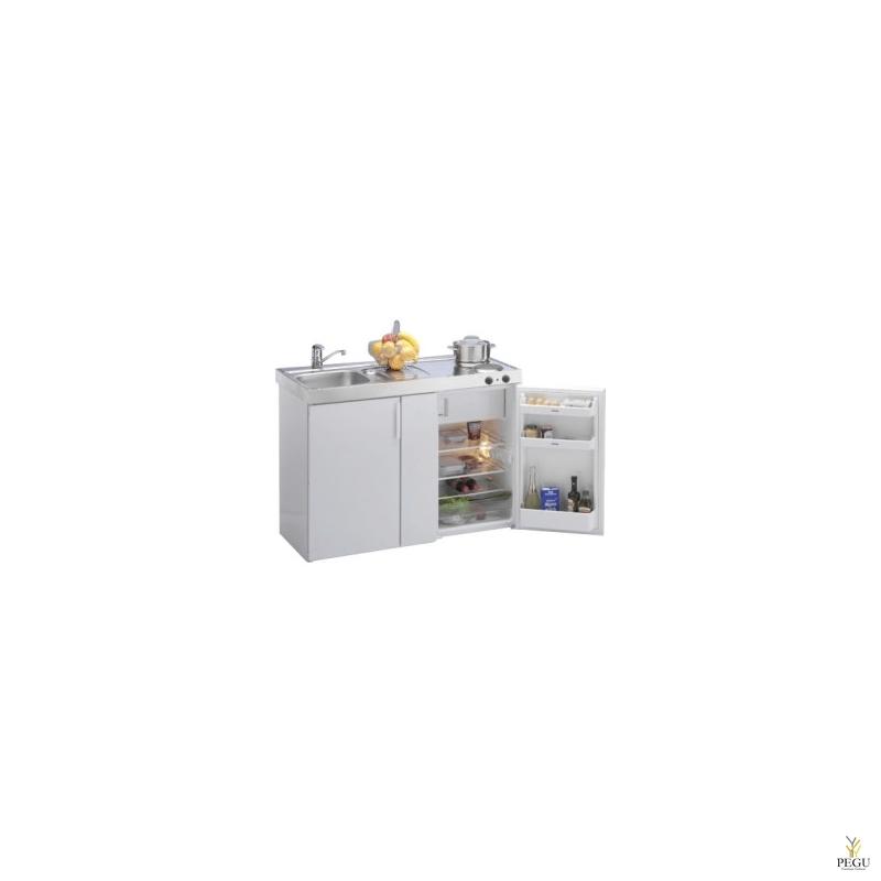 Миникухня металлическая Stengel MK120,  холодильник, 2-ая электроплита, белая, раковина слева