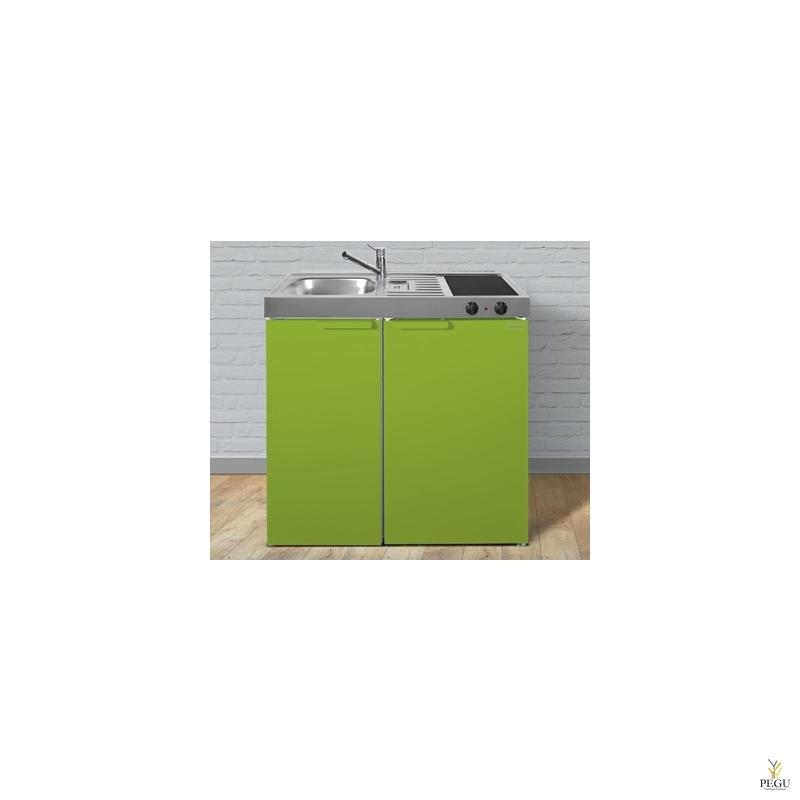 Miniköök metallist Stengel MK90,  külmik, ceramic pliit, COLOR, valamu vasakul