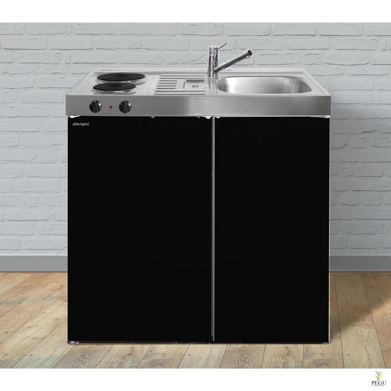 Миникухня стальная Stengel MK90,  холодильник, 2-ая электроплита, COLOR, раковина справа