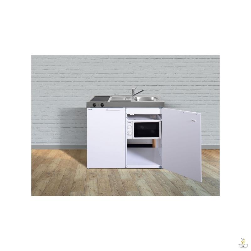 Miniköök metallist Stengel MKM100,  külmik , ceramic pliit, mikrolaineahi ,valge, valamu paremal