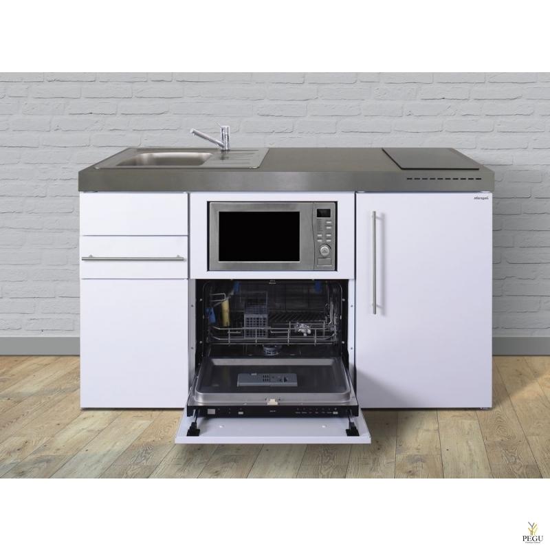 Miniköök metallist Stengel MPGSM150,  külmikuga, nõudepesumasinaga, induktsioonpliidiga, valge, valamu vasakul