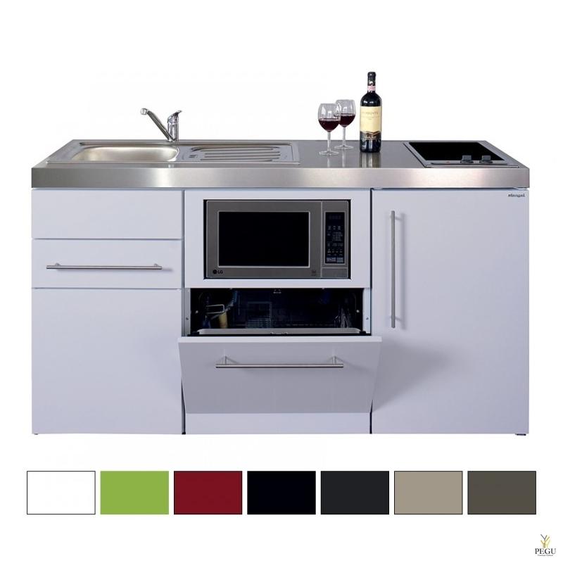 Miniköök metallist Stengel MPGSM150,  külmik, nõudepesumasin, induktsioonpliit, COLOR värv, valamu vasakul