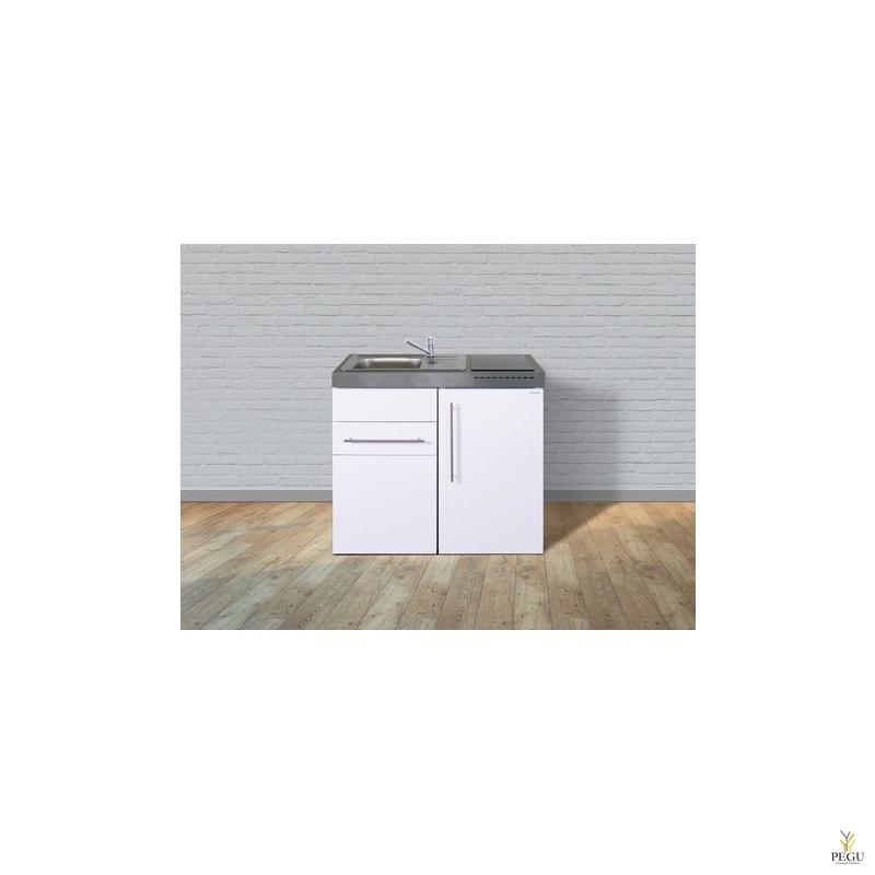 Miniköök metallist Stengel MP100S,  külmikuga, induktsioonpliidiga, valge, valamu vasakul