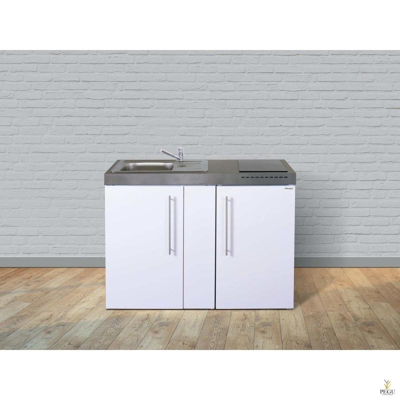 Miniköök metallist Stengel MP120,  külmikuga, induktsioonpliidiga, valge, valamu vasakul