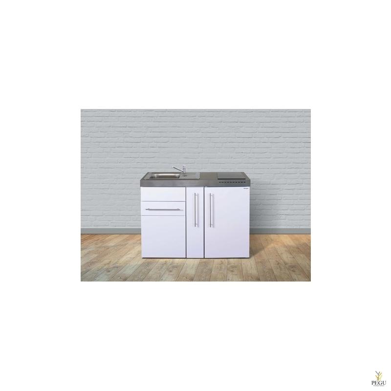 Miniköök metallist Stengel MP120A,  külmikuga, induktsioonpliidiga, valge, valamu vasakul