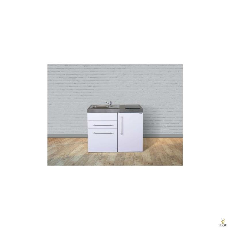 Миникухня металлическая Stengel MPGS110,  холодильник,  посудомоечная машина, индукционная плита, белая, раковина слева