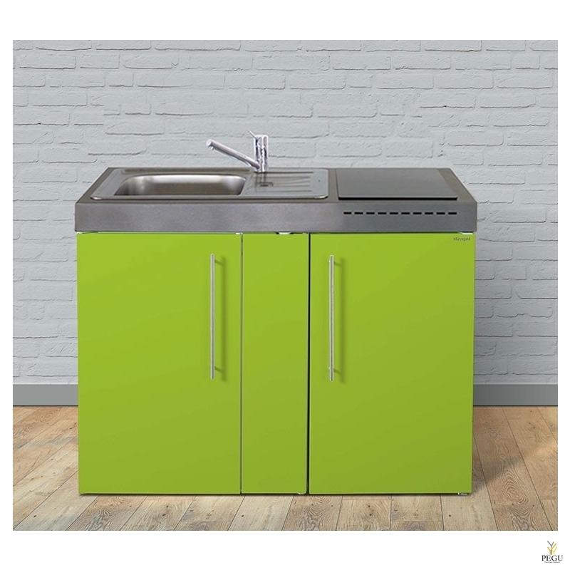 Миникухня металлическая Stengel MP120,  холодильник, индукционная плита, COLOR, раковина слева