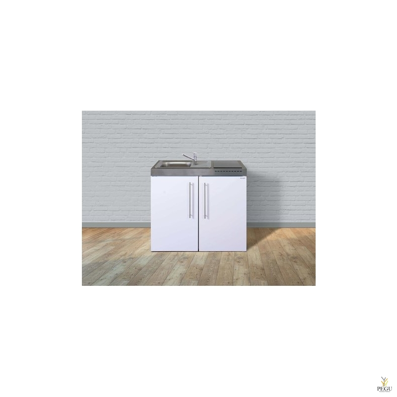 Миникухня металлическая Stengel MP100,  холодильник , индукционная плита, белая, раковина слева